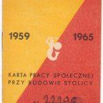 Karta pracy społecznej przy budowie Stolicy z czasów PRL-u