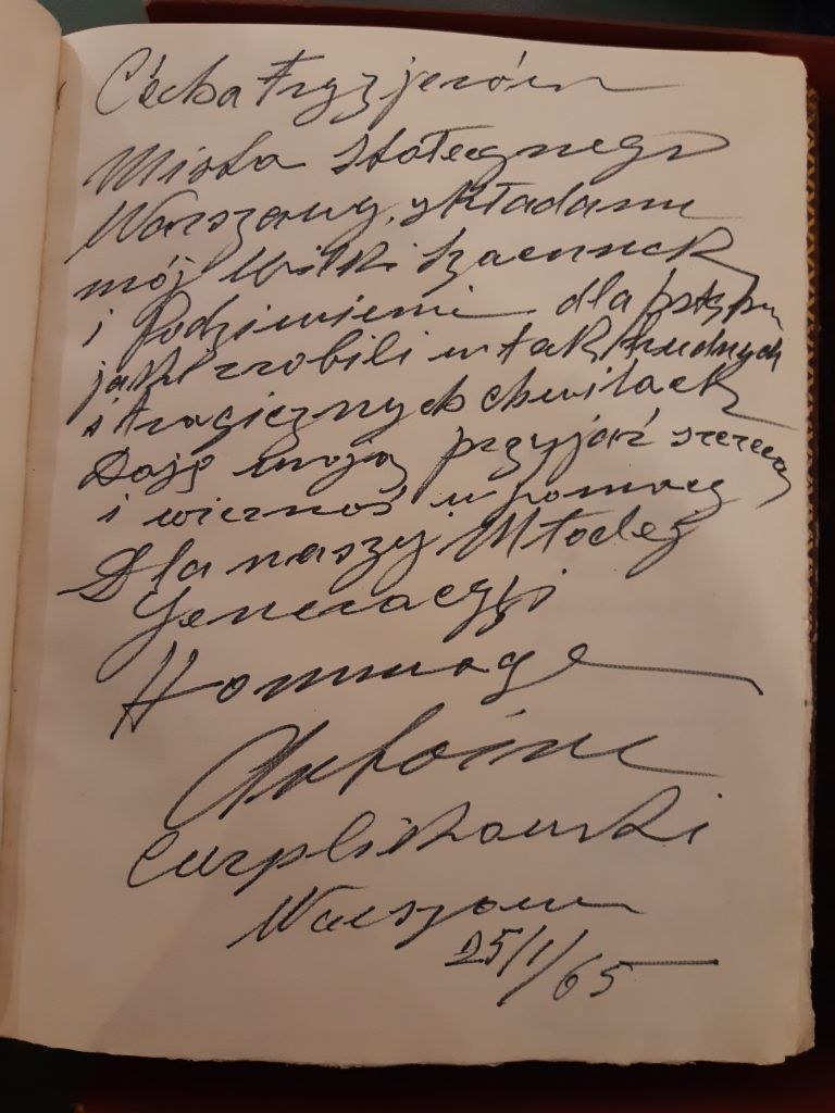 Wpis Antoina Cierplikowskiego do Księgi Pamiątkowej Cechu Fryzjerów w Warszawie